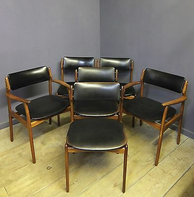 Erik Buch Dining Chairs, Model 49, Danish, Mid Century, Set of 6