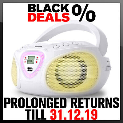 Portable Boombox Stereo System Bluetooth Speaker CD Player MP3 USB Radio White