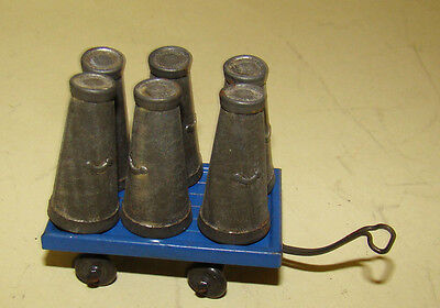 early Hornby O gauge Accessory set # 2 - 6 milk churns and trolley c 1930s