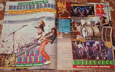 Monsters Of Rock Van Halen+Ac/dc+Motley Crue Swedish Clippings 1984 +Ultravox