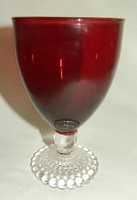 """Anchor Hocking Ruby Red Bubble Foot Water Glass 5 1/2"""" Free Ship"""