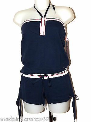 Fornarina Sportglam Annabelle Dungarees Top Shorts Size M L Blue Suit Overall