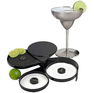 Black Cocktail Glass Rimmer Adding Salt Sugar Lemon Margarita Glasses 3 Trays