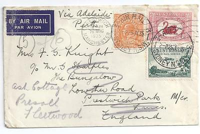 AUSTRALIA, KGV 1935 COVER TO UK, 5d RATE, RE-ADRESSED, UNUSUAL