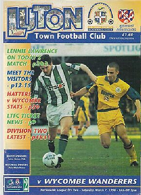 LUTON TOWN v WYCOMBE WANDERERS 1997-98 programme
