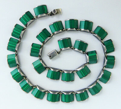 Vintage Taxco Mexico Sterling Silver Malachite Necklace Mexican Deco