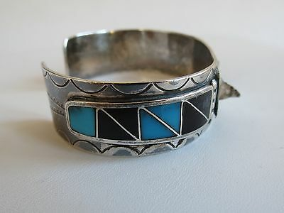 Native American Watch Cuff Zuni or Navajo sterling silver turquoise onyx inlay
