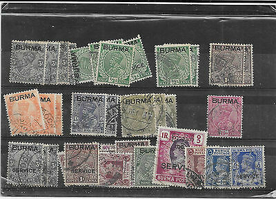 Burma selection 35stamps, Mainly KGV, some KGVI overprints 1x MM, Mainly vfused