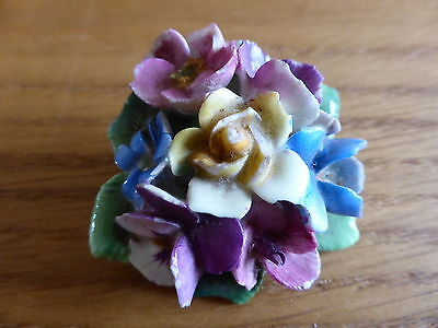 Vintage Crown Staffordshire Porcelain Floral Brooch