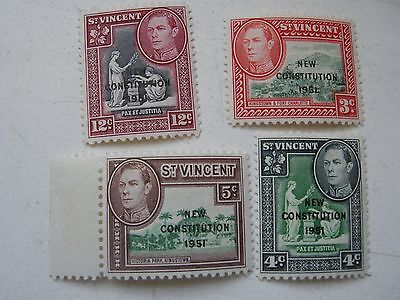 St Vincent 4 stamps 3,4,5,& 12 cents KGVI MM O/P New Constitution 1951