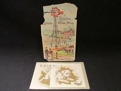 B Bell & Son St George Ont & Columbia Steel Windmill 2 Victorian Trade Cards