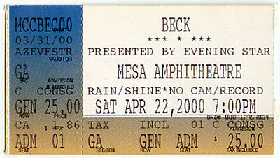 BECK Concert Ticket Apr 22, 2000 Arizona Mesa Amphitheatre Mixed Bizness Tour