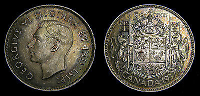 Canada 1937 Silver 50 Fifty Cents Choice Toning King George IV EF-45