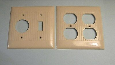 Vintage Sierra Ivory Ribbed Double Switch & Outlet Cover Plates