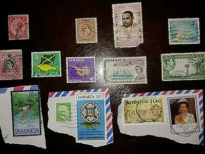 14 JAMAICA used stamps with 5 on paper.