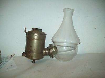 Antique  Angle wall oil lamp with elbow shade  parts or restoration