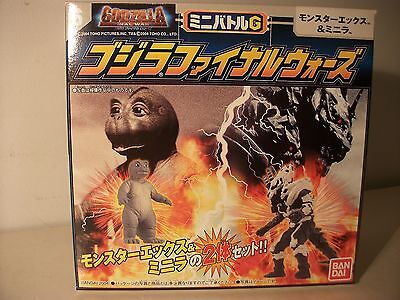 Godzilla Monster X vs  Minya Final Wars Figures Battle set Bandai Japan excl MIB