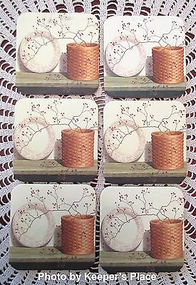 6 Longaberger Basket Coasters Pottery Plate Pip Berries On Country Shelf New