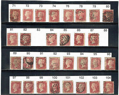 #287 GB QV 18.. 1d penny red plates collection to 219 223 & 224 + 12 on piece
