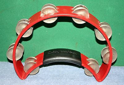 Beautiful Bright Red Double Row Tambourine by Rhythm Tech  -  Work Great!