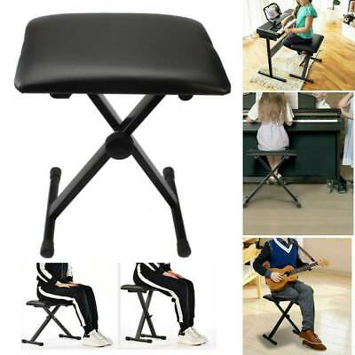 Black Adjustable Piano Keyboard Bench Leather Padded Seat Folding Stool Chair