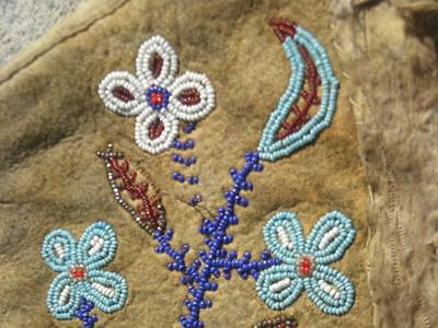 Vintage Antique Woodlands Cree Fully Beaded Hide Mittens Floral Dsgn Steel Beads