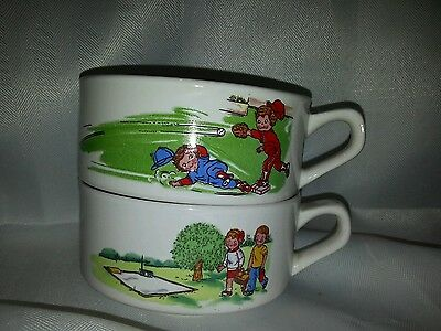 2 Campbell's Soup Kids Soup Bowls Mugs - Baseball & Picnic -  With Handles