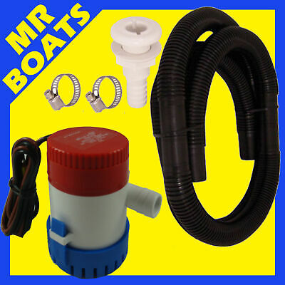 350 Gph Boat ✱  Bilge Pump + Hose Kit ✱ 12V 3/4' Submersible Water Marine 350Gph
