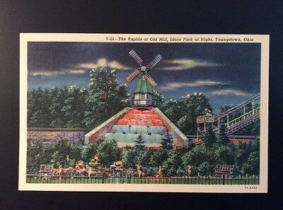 Vintage Linen Postcard RAPIDS, OLD MILL IDORA PARK AT NIGHT Youngstown OH Blank