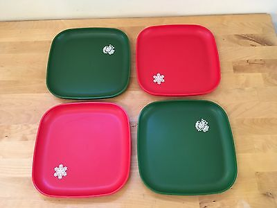 4 Piece Tupperware Holiday Christmas Square Luncheon Plates Red Green #1534