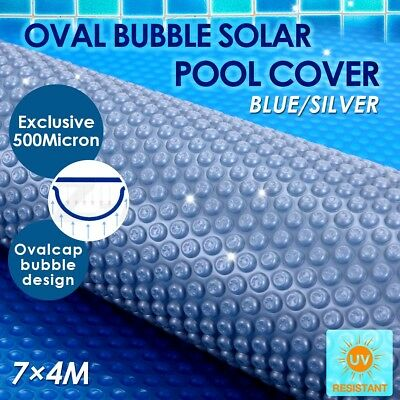 500 Micron Solar Swimming Pool Cover Oval Bubble Blanket 7M x 4M Blue/Silver