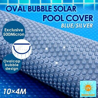 500 Micron Solar Swimming Pool Cover Outdoor Oval Bubble Blanket 10M x 4M