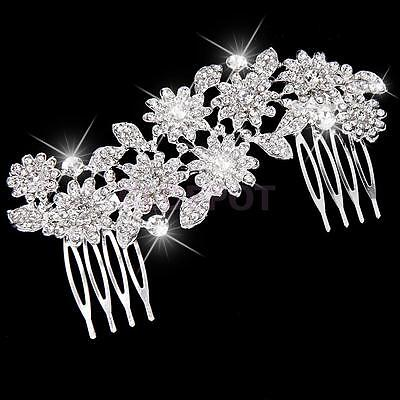 Wedding Bridal Crystal Rhinestone Hair Comb Flower Clip Hair Jewelry Silver