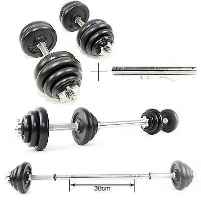 30kg Cast Iron Weights Dumbbell Set Gym Barbell Training & Connector