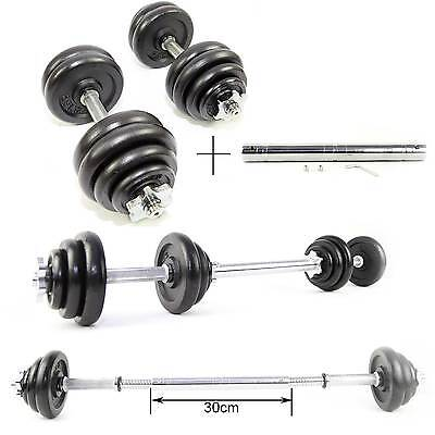 30kg Cast Iron Weights Lifting Dumbbell Set Gym Biceps Training Spin Locks