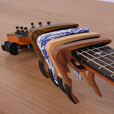 Tiger Guitar Capo in Wood Finish - Trigger Capo for Acoustic &