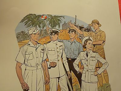 Druck 41 x 51 cm Uniforms of the UNITED STATES NAVY 1942 - 1943