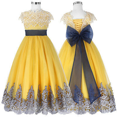 Flower Girl Princess Pageant Wedding Party Formal Birthday Kids Baby Tulle Dress