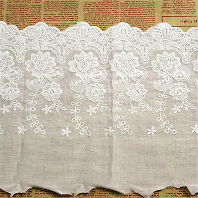 1 Yard Embroidered Flower Lace Trim Edge Ribbon Bridal Dress Sewing Craft DIY