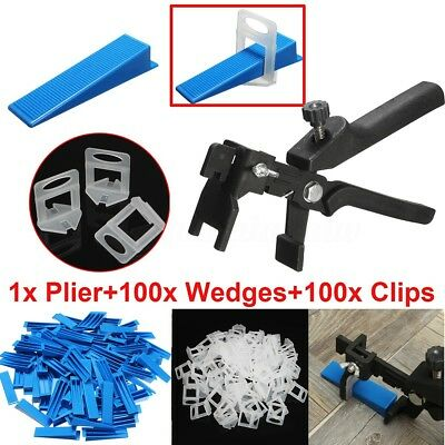 201 Floor Spacer Tiling Tile Leveling System 100 Clips + 100 Wedges + Plier New