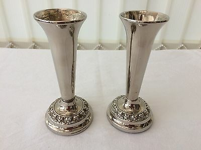 pair of silver plated spill / bud vases made by lanthe england