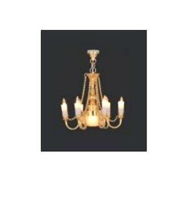 Dolls House working 12.volt 6-arm Candle Chandelier : 12th scale Lighting
