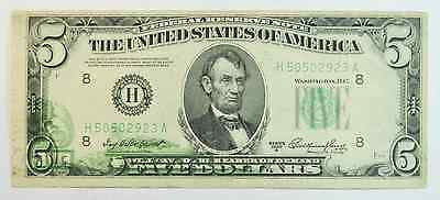 1950A Federal Reserve Note Five Dollars Fr# 1962 Offset Error H50502923A