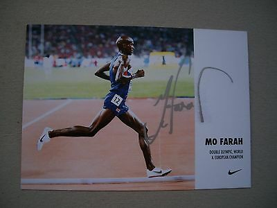 Mo Farah Olympic Champion Hand Signed Photo Card