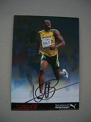 Usain Bolt Olympic Champion Hand Signed Photo Card