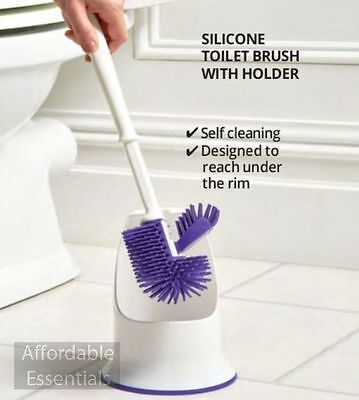 Silicon Toilet Brush with Holder- Self-cleaning double headed - Ergonomic handle