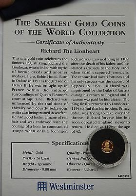 Gibraltar Crown 1999 GOLD 1 Gram 24 Carat Richard I COA