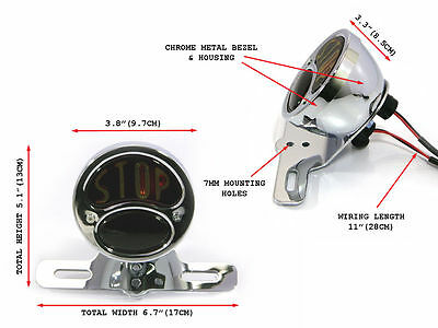 Chrome Vintage Retro STOP  Motorcycle Rear Tail Light Bobber Chopper retro
