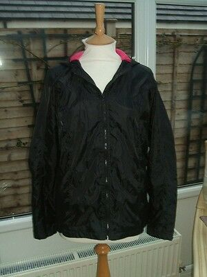 """m&s"" Girls  Rain Jacket With Hood Black Pink Age 13-14 Bnwot"