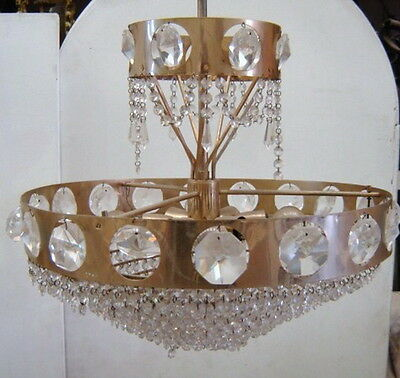 Antique French Bronze with Glass Beads Chandelier - D2563